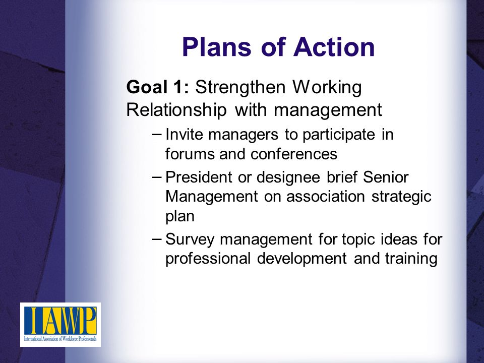 Plans of Action Goal 1: Strengthen Working Relationship with management − Invite managers to participate in forums and conferences − President or designee brief Senior Management on association strategic plan − Survey management for topic ideas for professional development and training