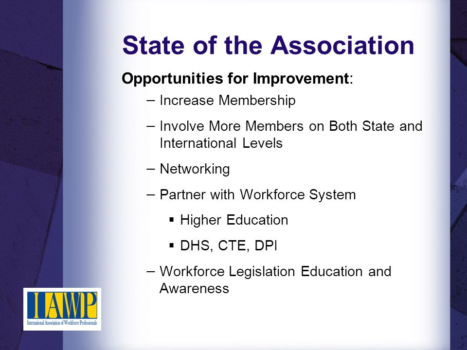 State of the Association Threats: − Aging Membership − Financial hardships of participation: membership, conference attendance, and associated expenses − Lack of Understanding the Benefits of Membership in ND IAWP − Time Commitment