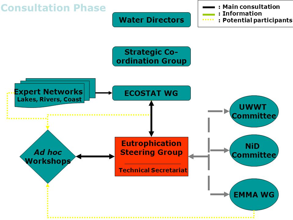 Water Directors Strategic Co- ordination Group ECOSTAT WG NiD Committee EMMA WG UWWT Committee Expert Networks Lakes, Rivers, Coast Ad hoc Workshops Decision Phase Eutrophication Steering Group Technical Secretariat : Main consultation : Information : Potential participants