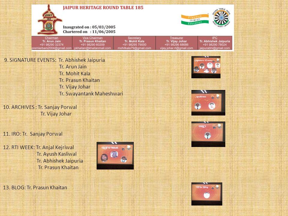 9. SIGNATURE EVENTS: Tr. Abhishek Jaipuria Tr. Arun Jain Tr.