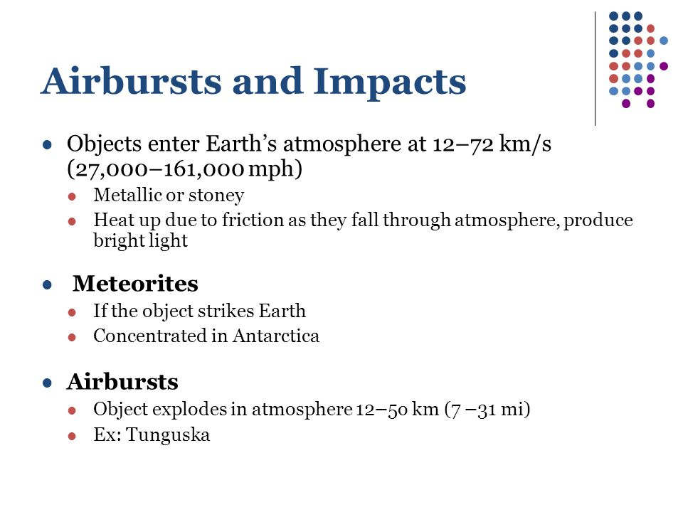 Airbursts and Impacts Objects enter Earth's atmosphere at 12–72 km/s (27,000–161,000 mph) Metallic or stoney Heat up due to friction as they fall through atmosphere, produce bright light Meteorites If the object strikes Earth Concentrated in Antarctica Airbursts Object explodes in atmosphere 12 – 5o km (7 – 31 mi) Ex: Tunguska