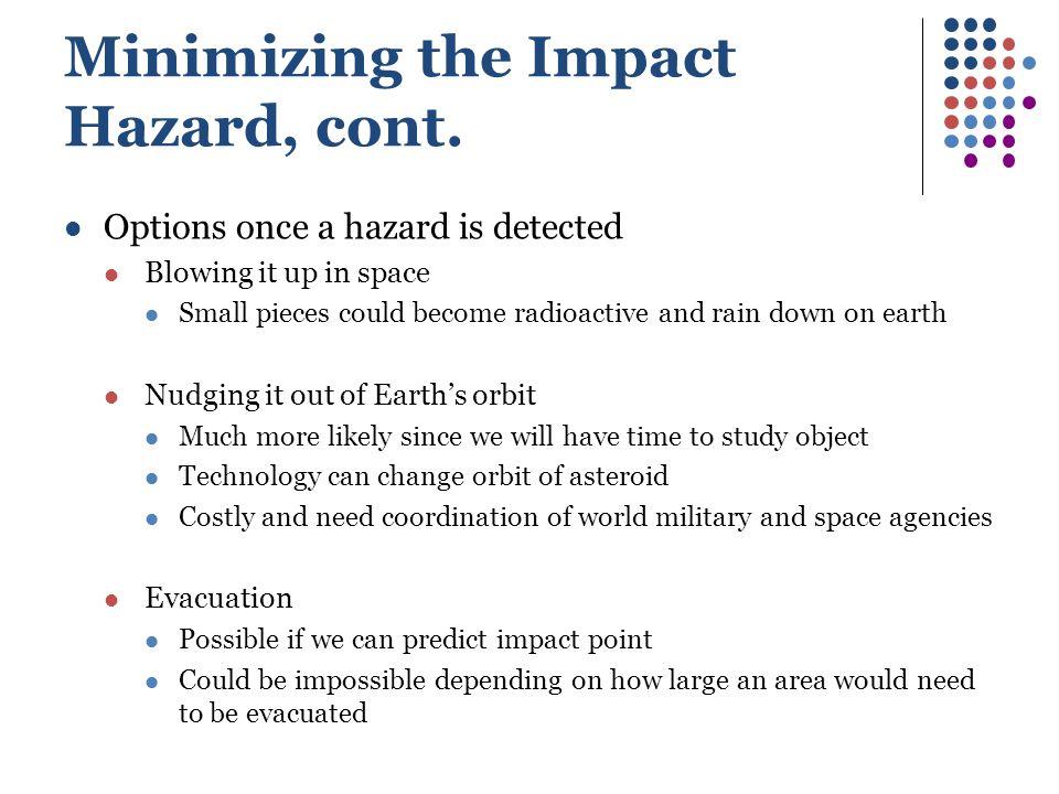 Minimizing the Impact Hazard, cont.
