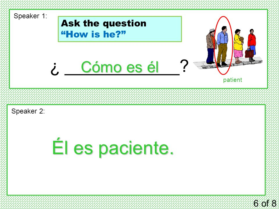 ¿ ____________. 6 of 8 Speaker 1: Speaker 2: Cómo es él Él es paciente.