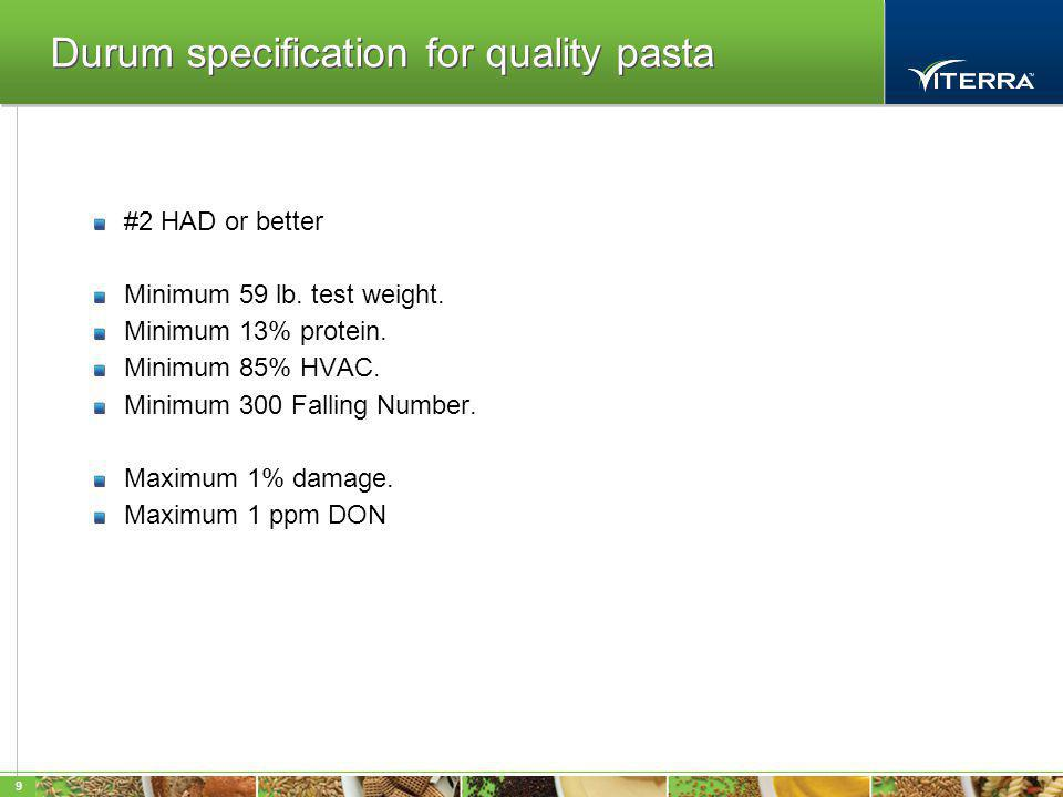 9 Durum specification for quality pasta #2 HAD or better Minimum 59 lb.