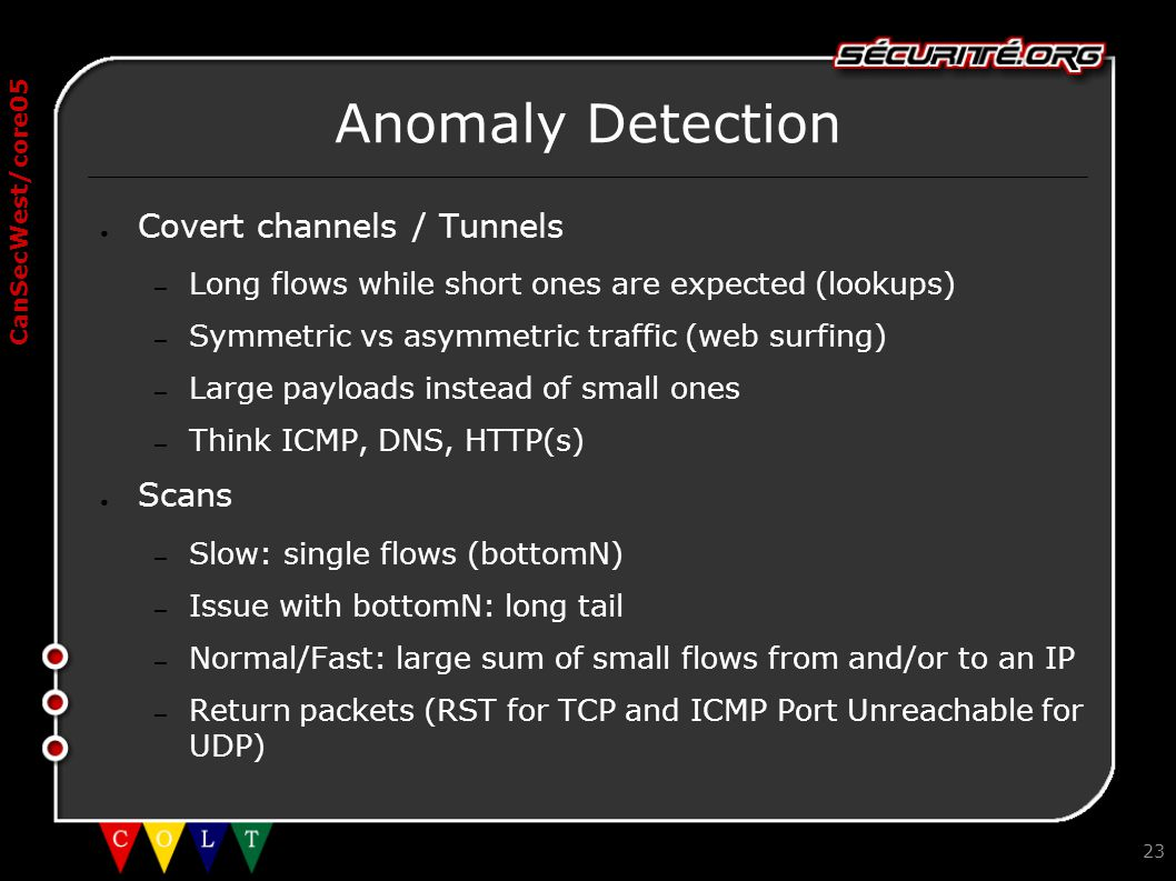 CanSecWest/core05 23 Anomaly Detection ● Covert channels / Tunnels – Long flows while short ones are expected (lookups) – Symmetric vs asymmetric traf