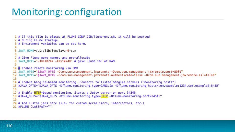 Monitoring: configuration 110