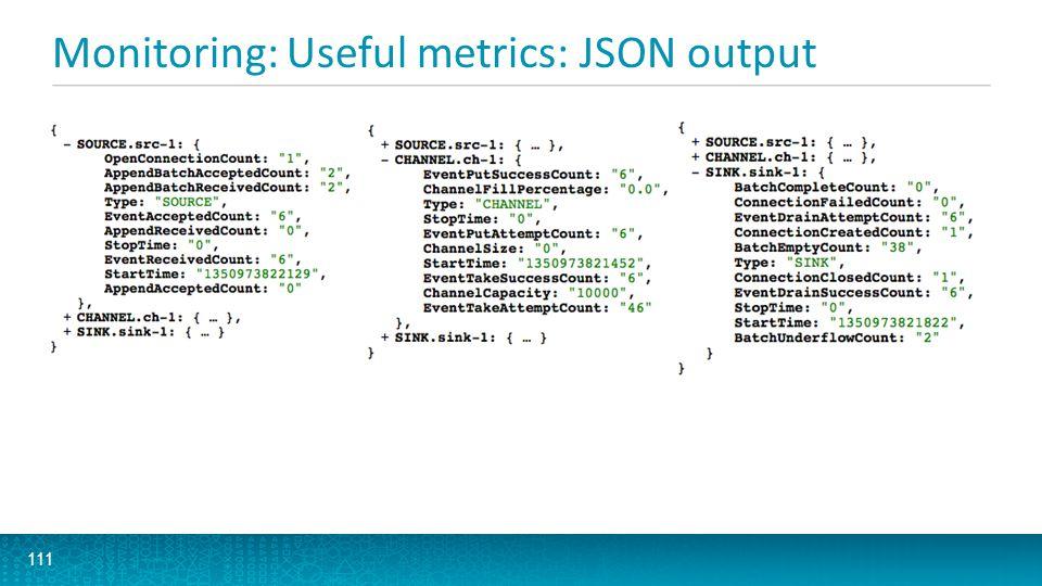 Monitoring: Useful metrics: JSON output 111 ssss