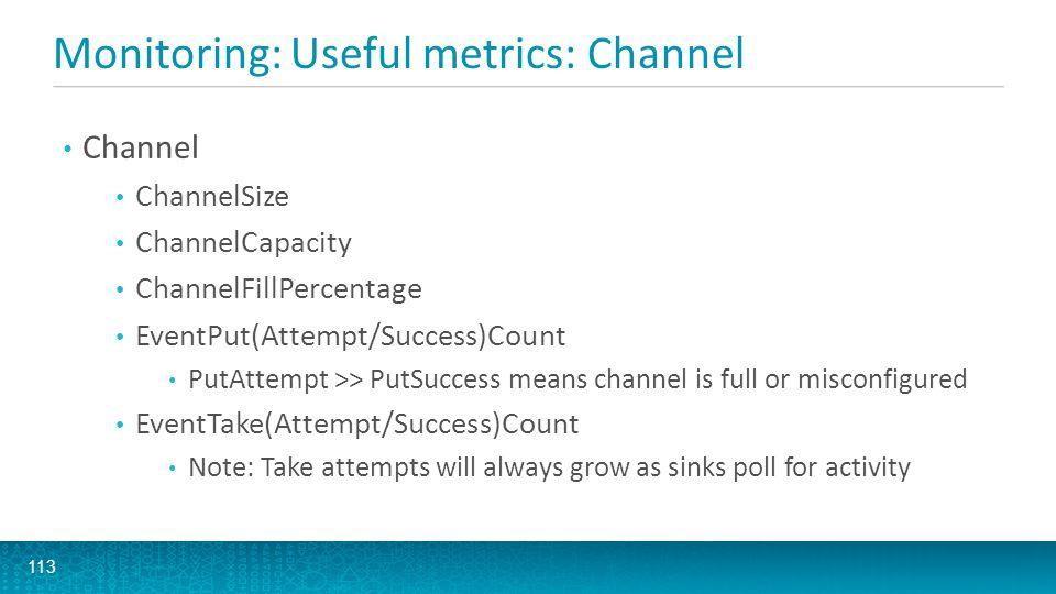 Monitoring: Useful metrics: Channel 113 Channel ChannelSize ChannelCapacity ChannelFillPercentage EventPut(Attempt/Success)Count PutAttempt >> PutSucc