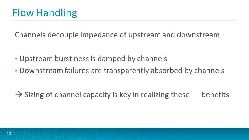 Flow Handling Channels decouple impedance of upstream and downstream Upstream burstiness is damped by channels Downstream failures are transparently a