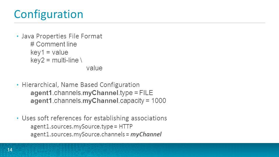 Configuration Java Properties File Format # Comment line key1 = value key2 = multi-line \ value Hierarchical, Name Based Configuration agent1.channels