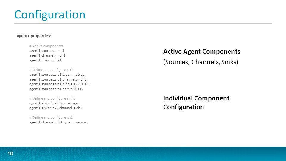 Configuration agent1.properties: # Active components agent1.sources = src1 agent1.channels = ch1 agent1.sinks = sink1 # Define and configure src1 agen
