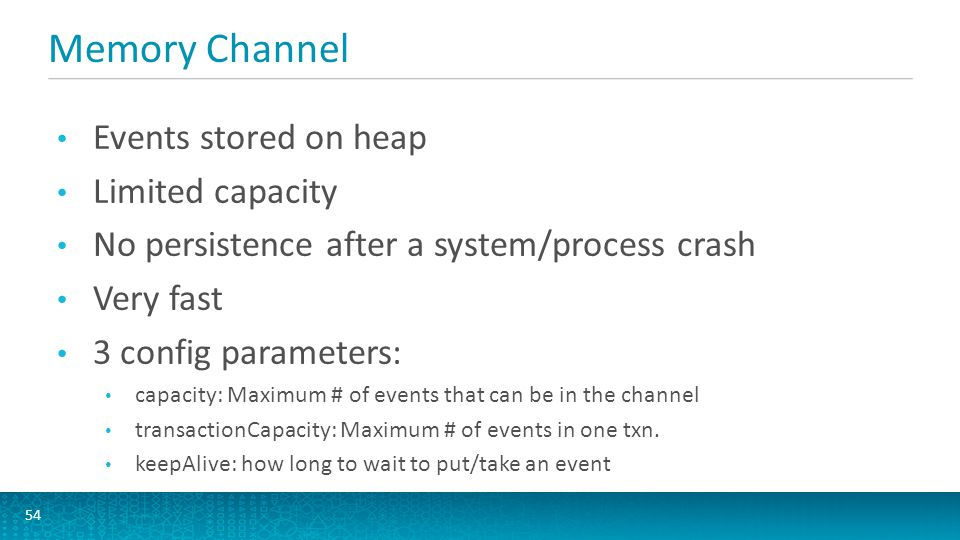 Memory Channel 54 Events stored on heap Limited capacity No persistence after a system/process crash Very fast 3 config parameters: capacity: Maximum