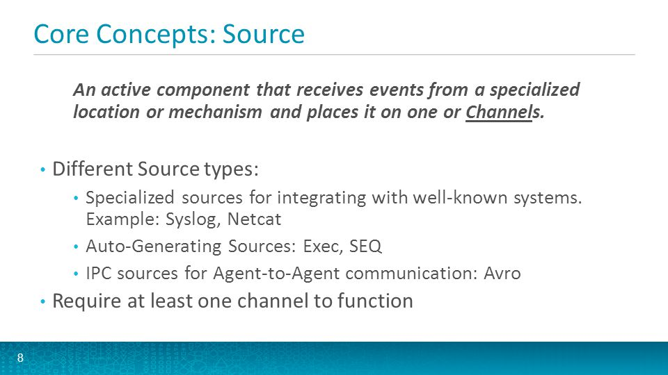 Core Concepts: Channel A passive component that buffers the incoming events until they are drained by Sinks.