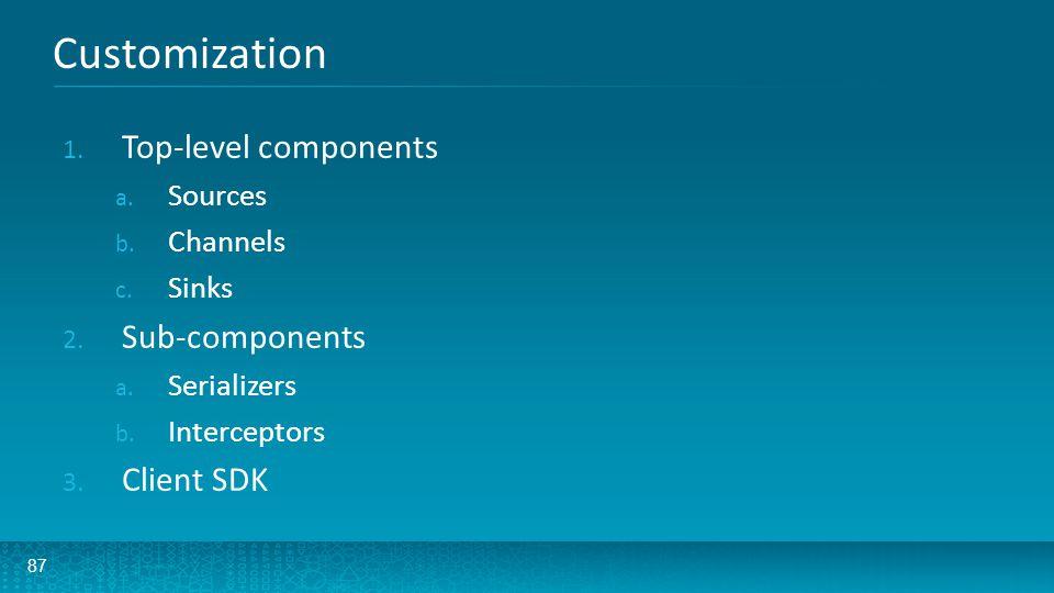 87 Customization 1. Top-level components a. Sources b. Channels c. Sinks 2. Sub-components a. Serializers b. Interceptors 3. Client SDK