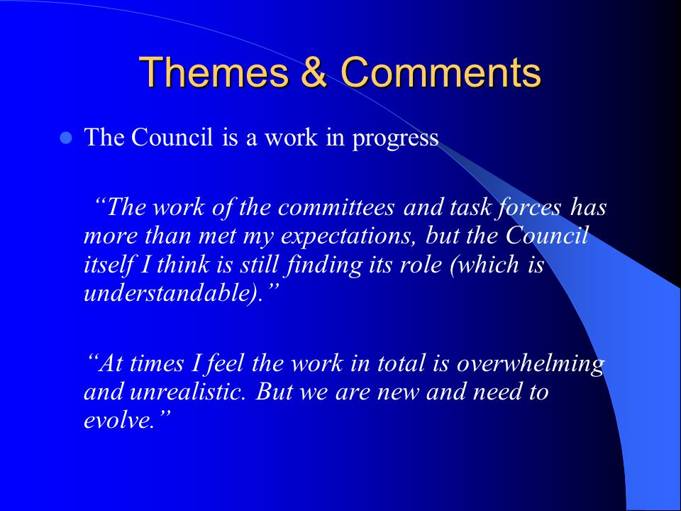 Themes & Comments The Council is a work in progress The work of the committees and task forces has more than met my expectations, but the Council itself I think is still finding its role (which is understandable). At times I feel the work in total is overwhelming and unrealistic.
