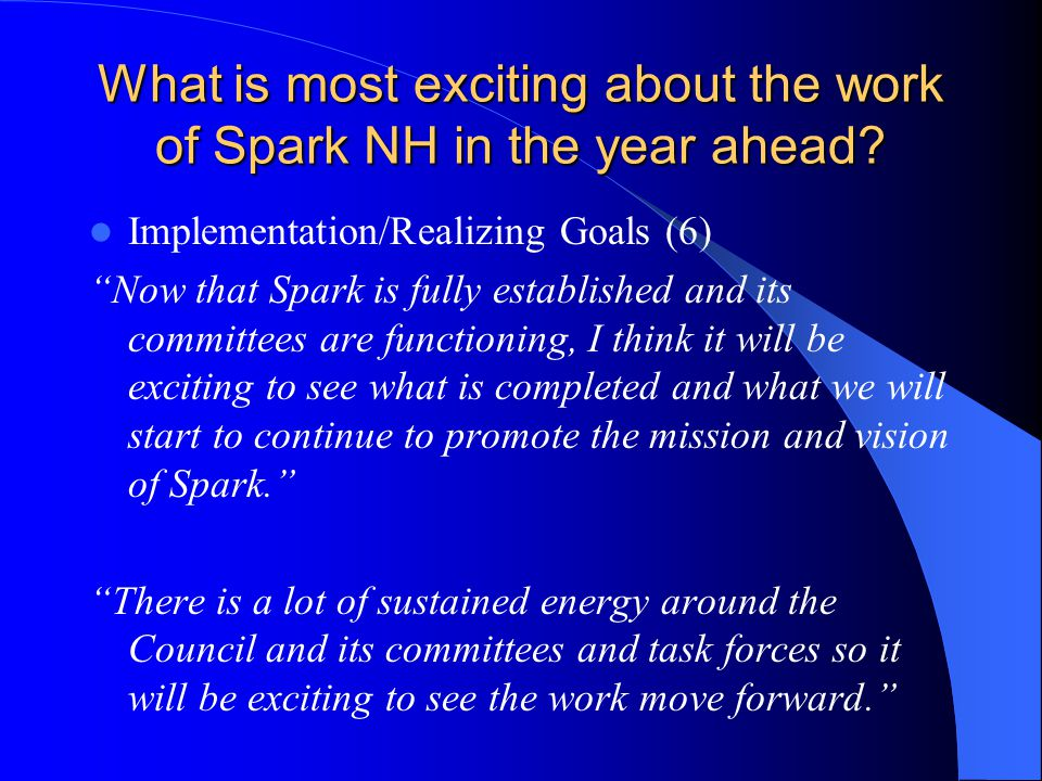What is most exciting about the work of Spark NH in the year ahead.