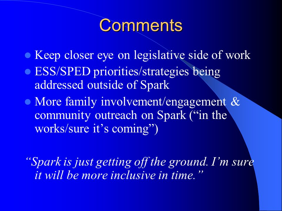 Comments Keep closer eye on legislative side of work ESS/SPED priorities/strategies being addressed outside of Spark More family involvement/engagement & community outreach on Spark ( in the works/sure it's coming ) Spark is just getting off the ground.
