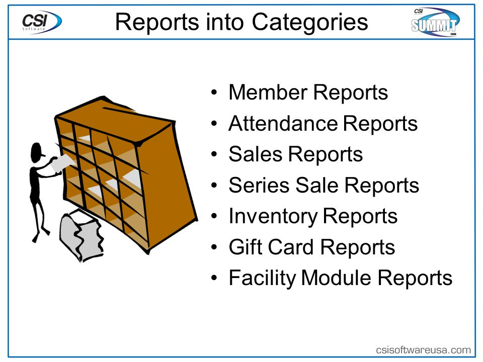Reports into Categories Member Reports Attendance Reports Sales Reports Series Sale Reports Inventory Reports Gift Card Reports Facility Module Reports