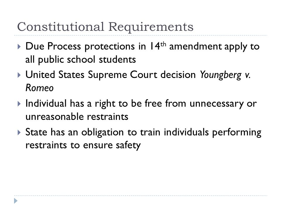Constitutional Requirements  Due Process protections in 14 th amendment apply to all public school students  United States Supreme Court decision Yo