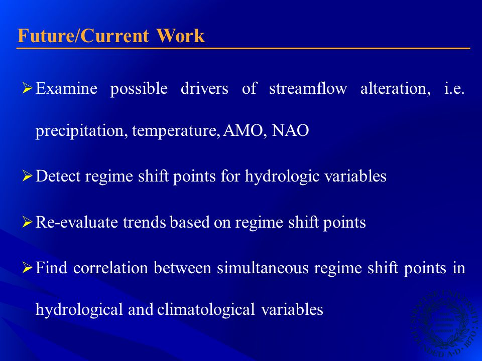 Future/Current Work  Examine possible drivers of streamflow alteration, i.e.