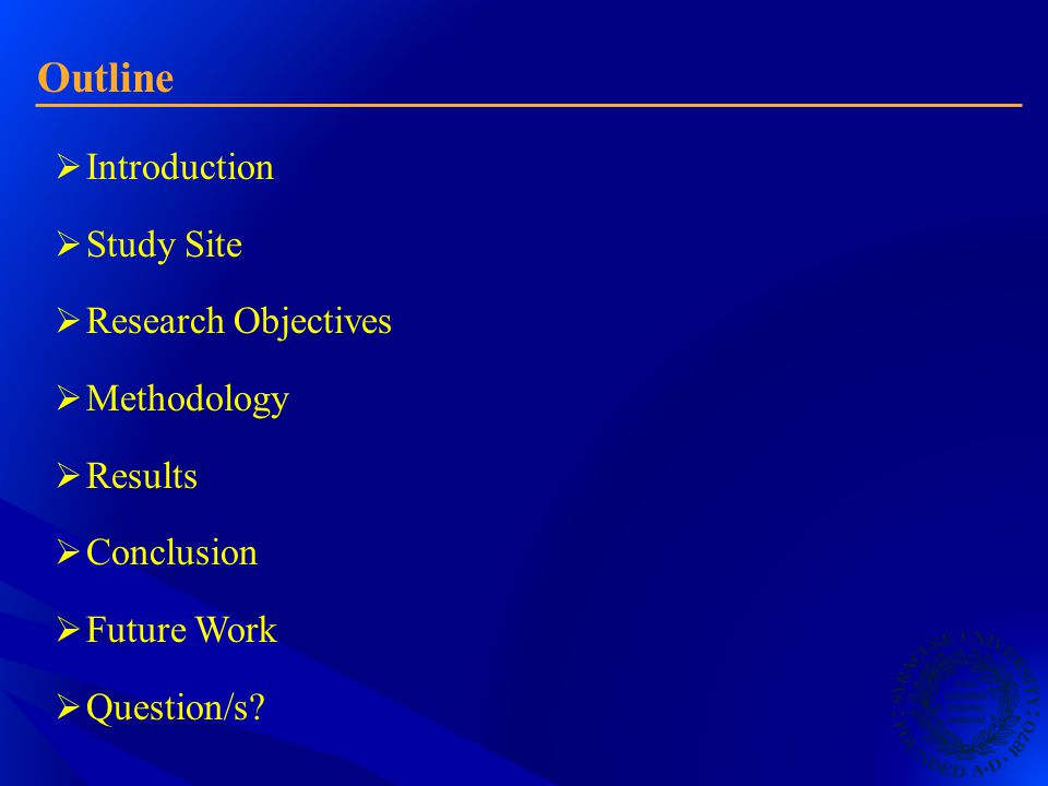 Outline  Introduction  Study Site  Research Objectives  Methodology  Results  Conclusion  Future Work  Question/s?