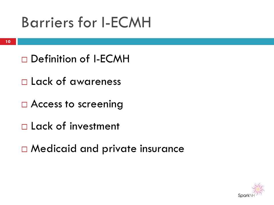 Barriers for I-ECMH  Definition of I-ECMH  Lack of awareness  Access to screening  Lack of investment  Medicaid and private insurance 10