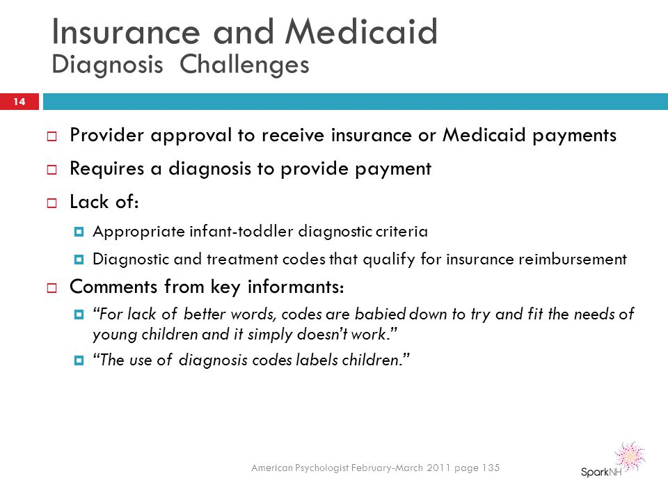 Insurance and Medicaid Diagnosis Challenges  Provider approval to receive insurance or Medicaid payments  Requires a diagnosis to provide payment 