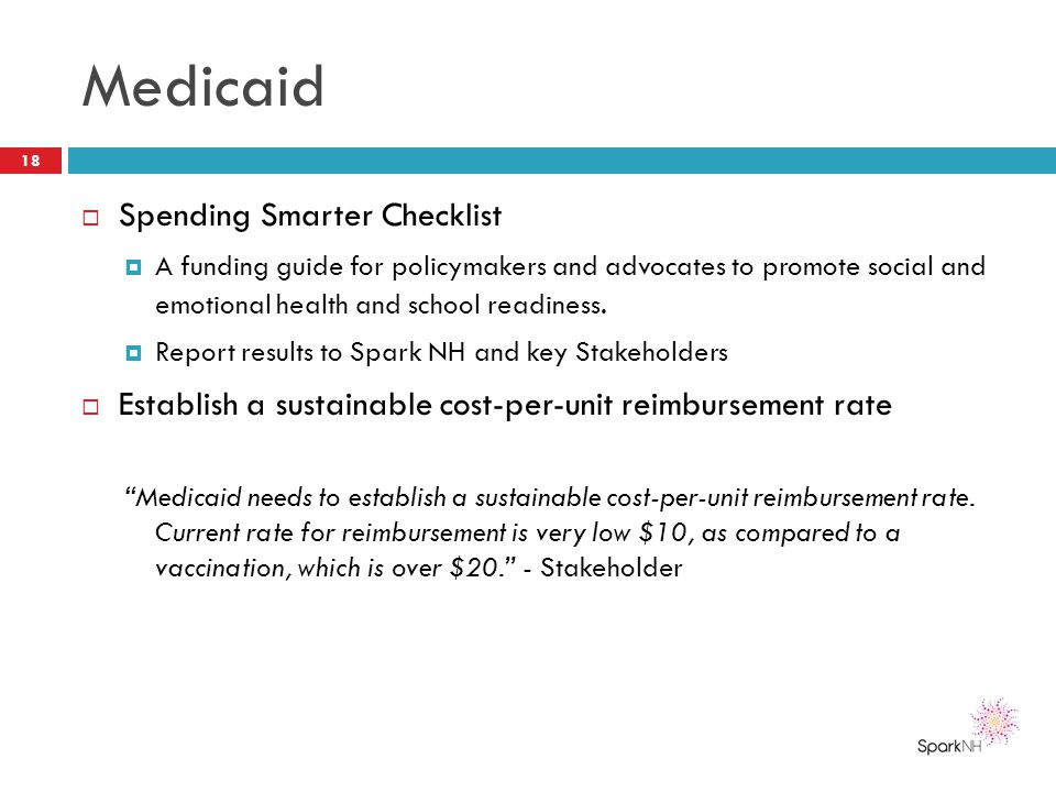 Medicaid  Spending Smarter Checklist  A funding guide for policymakers and advocates to promote social and emotional health and school readiness. 