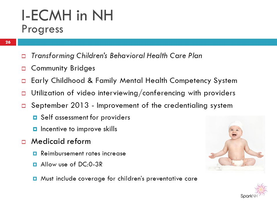 I-ECMH in NH Progress  Transforming Children's Behavioral Health Care Plan  Community Bridges  Early Childhood & Family Mental Health Competency Sy