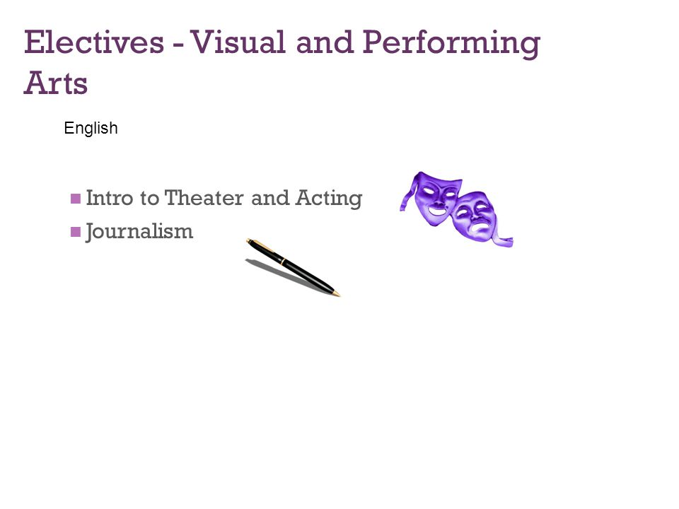 Electives - Visual and Performing Arts Intro to Theater and Acting Journalism English