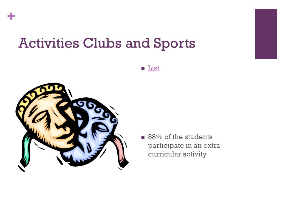 + Activities Clubs and Sports List 88% of the students participate in an extra curricular activity