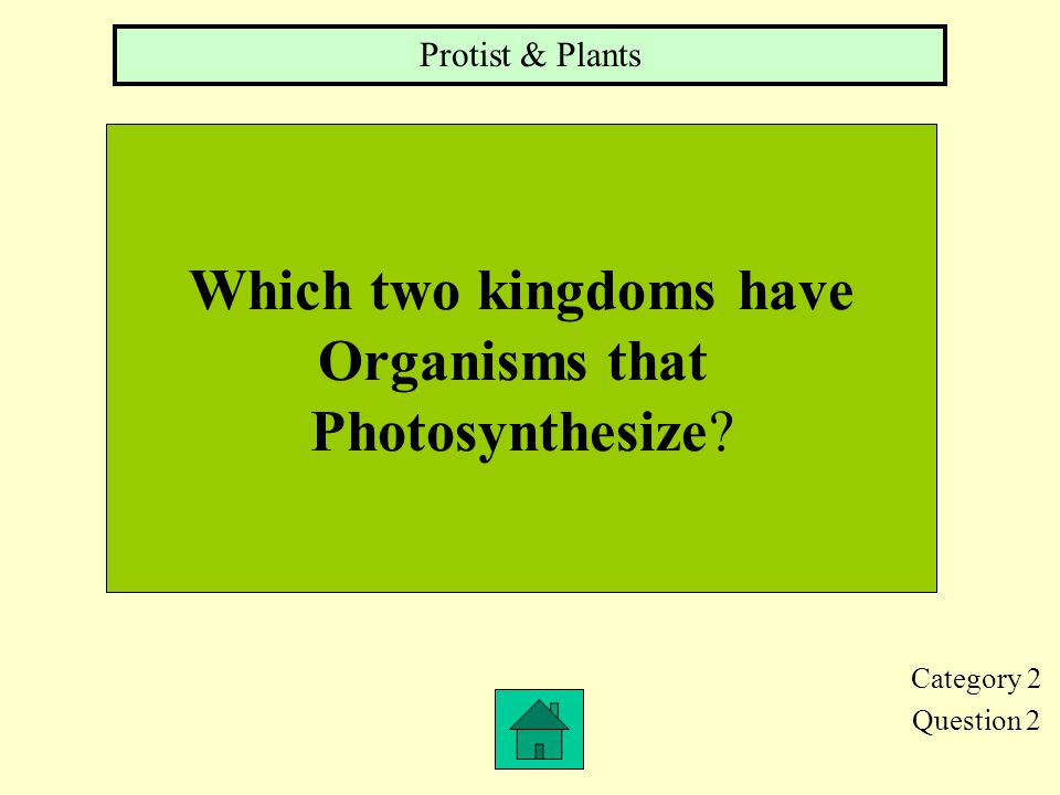 Category 2 Question 1 Name the 6 Kingdoms Of living things. Eubacteria, Archaebacteria, Protists, Fungi, Plants & Animals