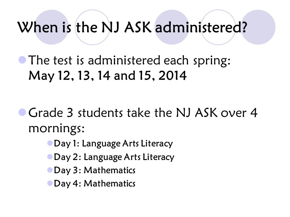 What is the format of the NJ ASK.