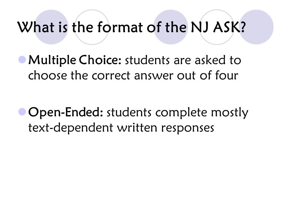 What is the format of the NJ ASK Language Arts Literacy.
