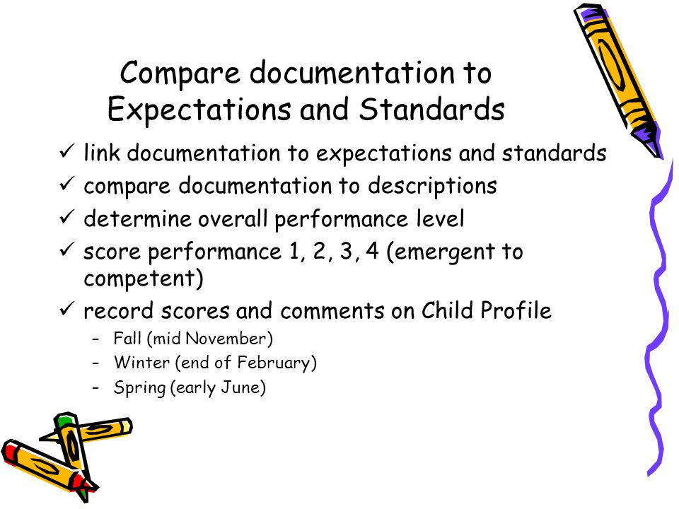 Compare documentation to Expectations and Standards link documentation to expectations and standards compare documentation to descriptions determine overall performance level score performance 1, 2, 3, 4 (emergent to competent) record scores and comments on Child Profile –Fall (mid November) –Winter (end of February) –Spring (early June)