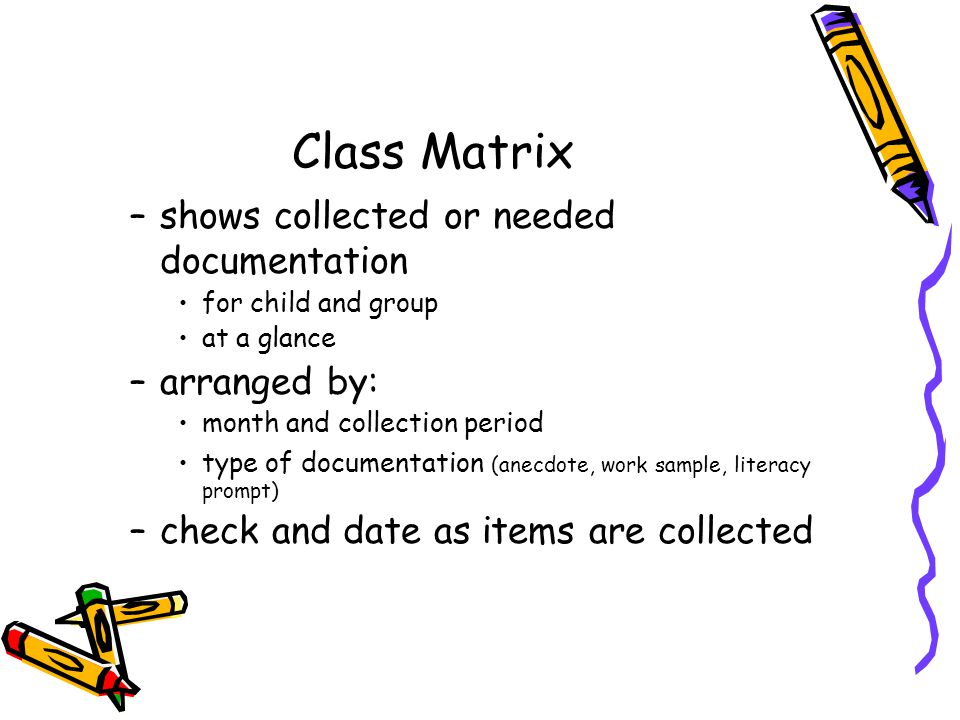 Class Matrix –shows collected or needed documentation for child and group at a glance –arranged by: month and collection period type of documentation (anecdote, work sample, literacy prompt) –check and date as items are collected