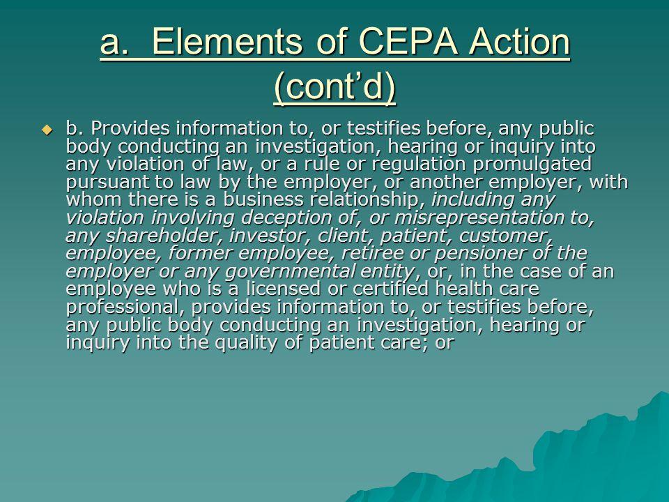 a.Elements of CEPA Action (cont'd)  c.