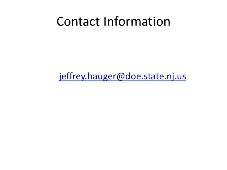 Contact Information jeffrey.hauger@doe.state.nj.us