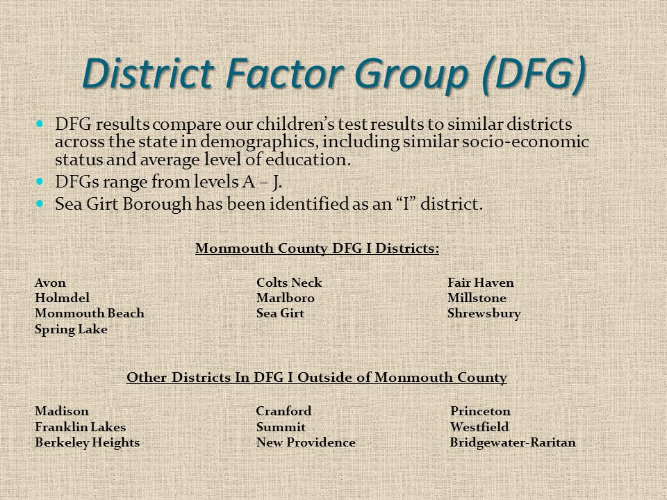 District Factor Group (DFG) DFG results compare our children's test results to similar districts across the state in demographics, including similar s