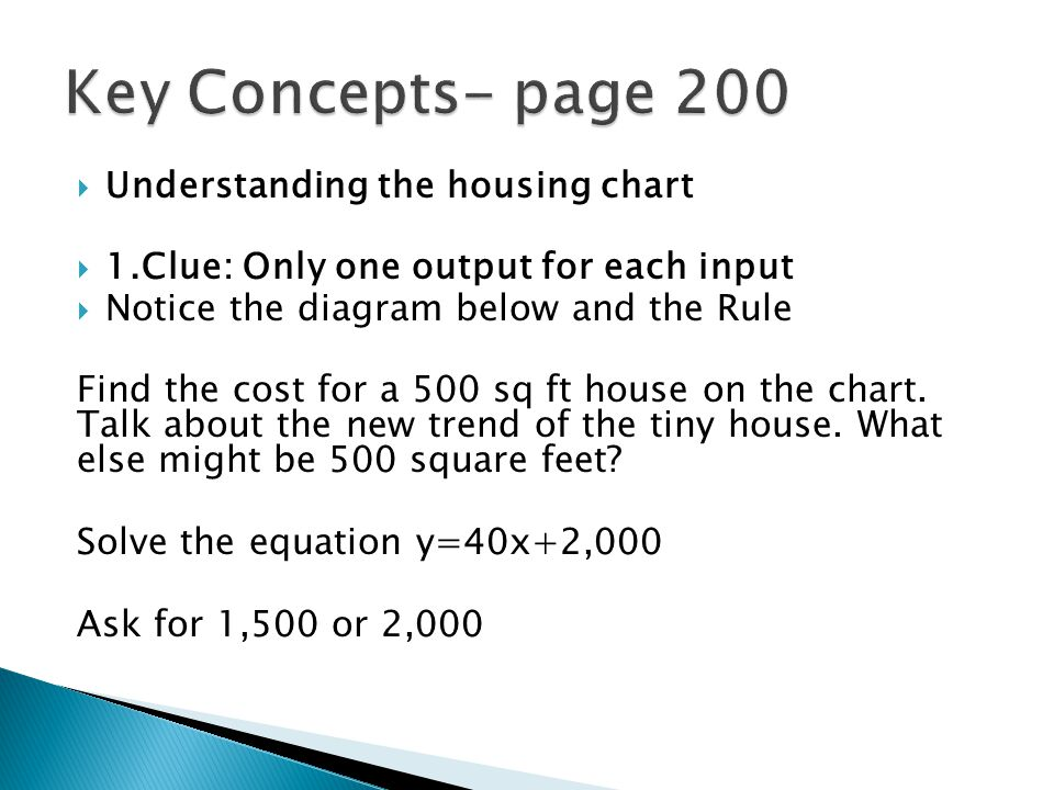  Understanding the housing chart  1.Clue: Only one output for each input  Notice the diagram below and the Rule Find the cost for a 500 sq ft house on the chart.