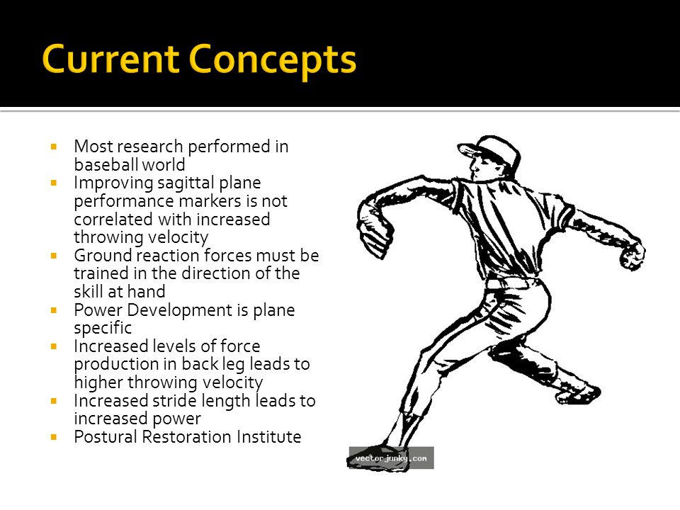  Most research performed in baseball world  Improving sagittal plane performance markers is not correlated with increased throwing velocity  Ground