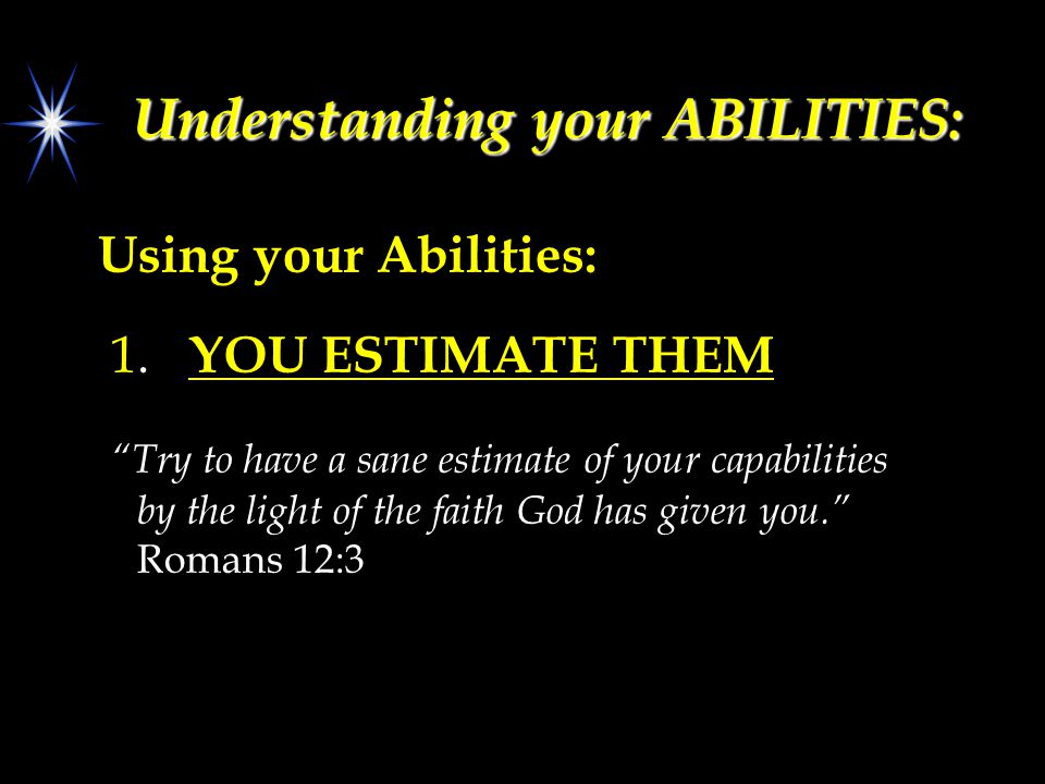 Understanding your ABILITIES: Using your Abilities: 1.