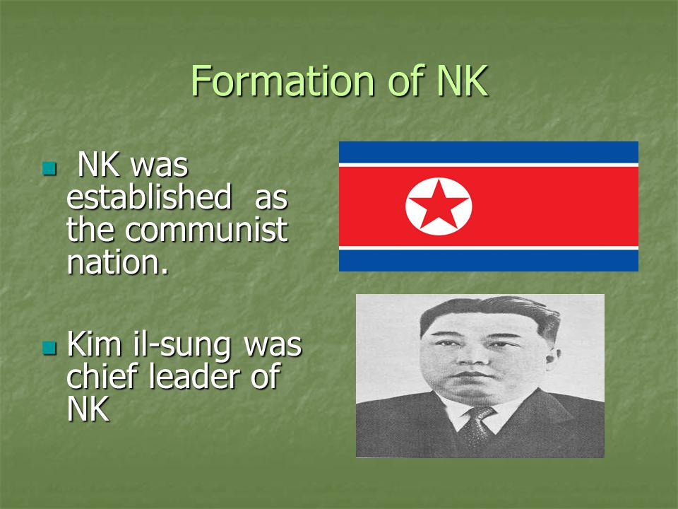 Formation of Juche Idea Formation of Juche Idea NK followed the Marxism- Leninism with Soviet Union and China NK followed the Marxism- Leninism with Soviet Union and China Stalinism and the Dialectical Materialism Stalinism and the Dialectical Materialism