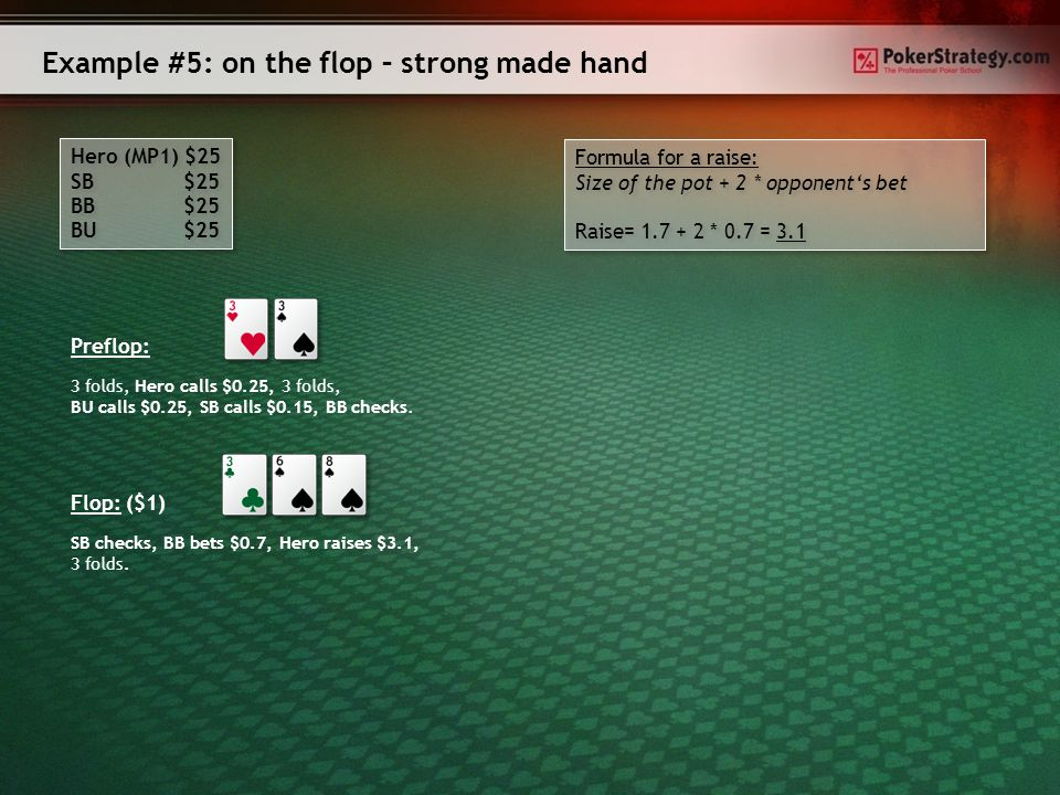 How do you play on the flop. ► Medium made hands ▫If your opponents check to you, you should bet.