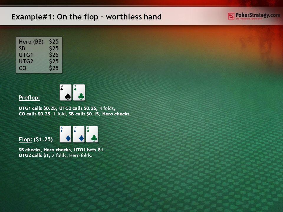 Example#1: On the flop – worthless hand Hero (BB) $25 SB $25 UTG1 $25 UTG2 $25 CO $25 Hero (BB) $25 SB $25 UTG1 $25 UTG2 $25 CO $25 Preflop: Flop: ($1.25) SB checks, Hero checks, UTG1 bets $1, UTG2 calls $1, 2 folds, Hero folds.