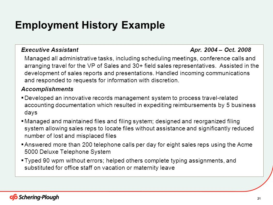 21 Employment History Example Executive Assistant Apr.