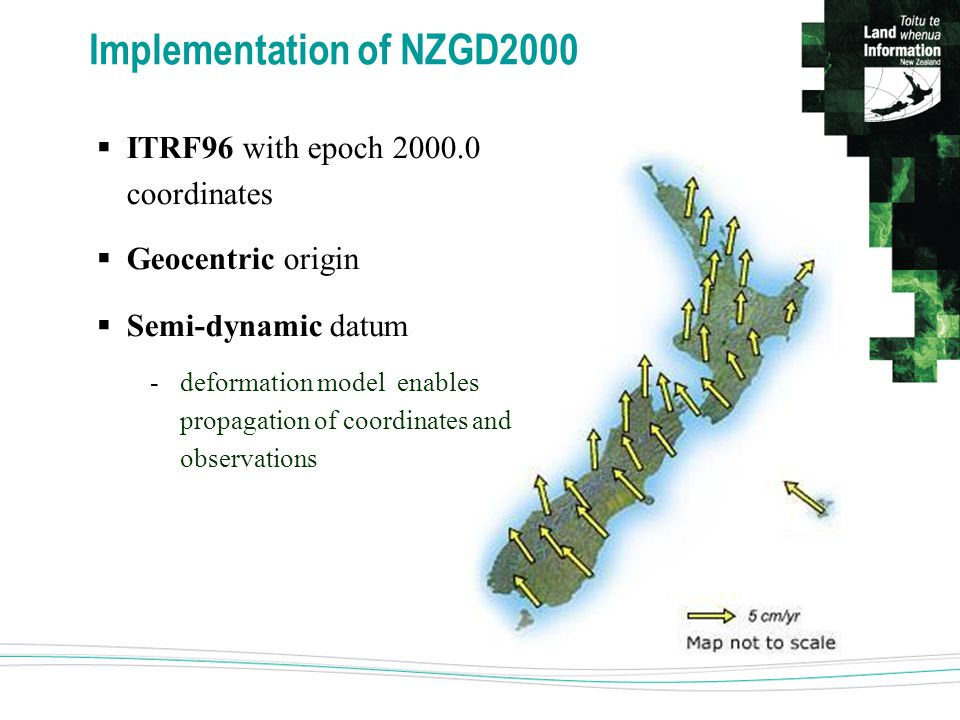 Implementation of NZGD2000  ITRF96 with epoch 2000.0 coordinates  Geocentric origin  Semi-dynamic datum -deformation model enables propagation of coordinates and observations