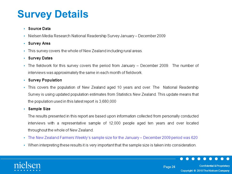 25/08/2014 Confidential & Proprietary Copyright © 2010 The Nielsen Company Confidential & Proprietary Copyright © 2010 The Nielsen Company Page 24 Survey Details Source Data Nielsen Media Research National Readership Survey January – December 2009 Survey Area This survey covers the whole of New Zealand including rural areas.