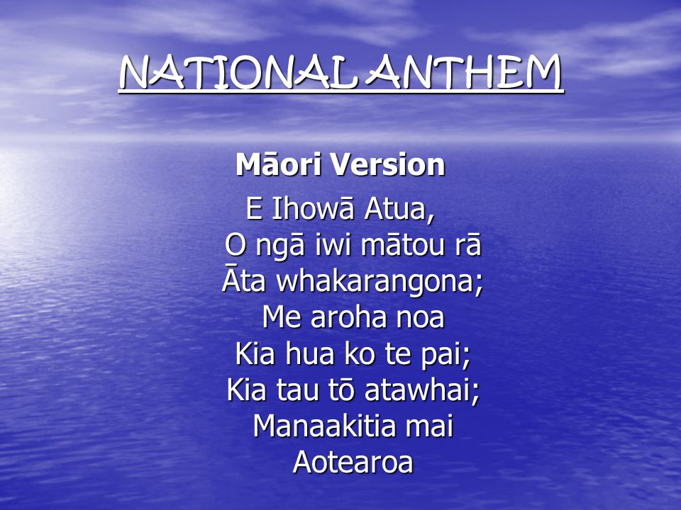 NATIONAL ANTHEM English Version God of Nations at Thy feet, In the bonds of love we meet, Hear our voices, we entreat, God defend our free land.