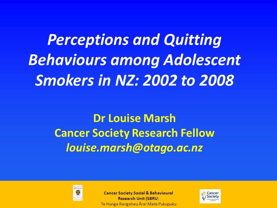 Cancer Society Social & Behavioural Research Unit (SBRU) Te Hunga Rangahau Ārai Mate Pukupuku Trends in regular smoking for girls 1999-2010 ASH New Zealand (2011)